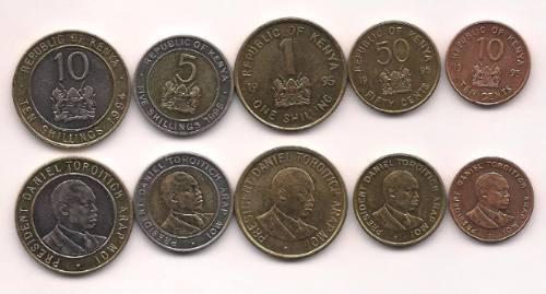 Serie De 5 Monedas De Kenia Año 1994/95 Con 2 Bimetalicas