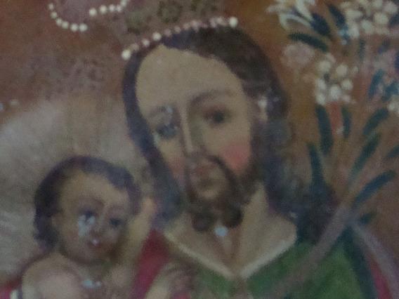 Antigua Pintura Oleo Sobre Chapa San Jose Niño Jesus Colonia