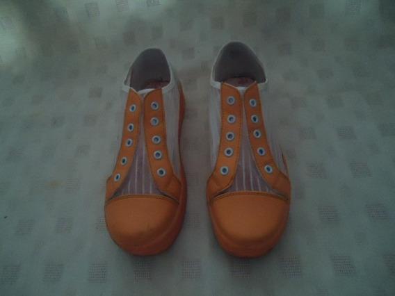 Zapatillas Combinada De Rafia Transparente Y Amarillo Nro 37