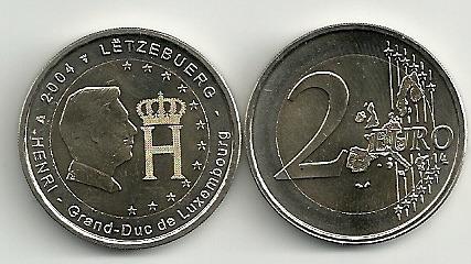 Moneda Luxemburgo Año 2004 Bimetalica 2 Euro Sin Circular