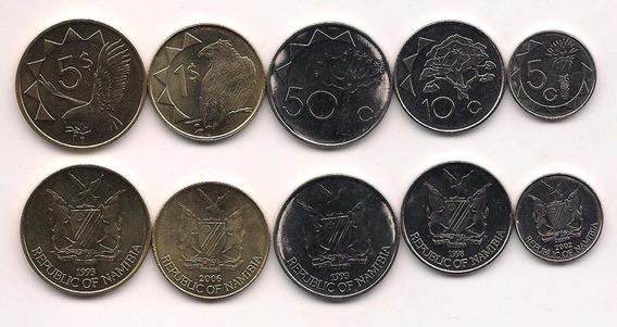 Serie 5 Monedas De Namibia Año 1993/02 Aguilas Sin Circular