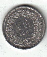 Suiza Moneda De Medio Franco Año 1987 !!!!!!!!!