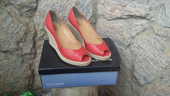 Sapato Bottero Anabela Couro Legítimo Na Cor Vermelha