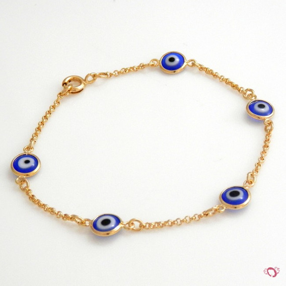 Pulseira Olho Grego Murano 2 Camadas Ouro18k