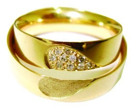 Par De Alianças De Ouro 18 K Coração 10 Gr 5,3 Mm 10 Diamant