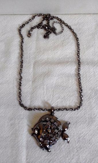 Corrente Colar Pingente Metal Cor Bronze Peixinho Com Strass