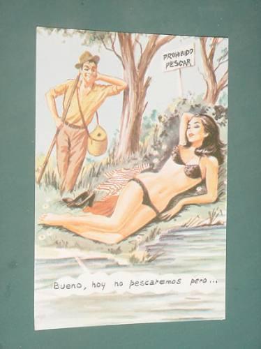 Postal Caricatura Humor Dibujos Picaresca No Pescaremos