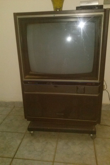 Tv Antiga Mitsubishi Eletric (reliquea) Com Movel Anos 80