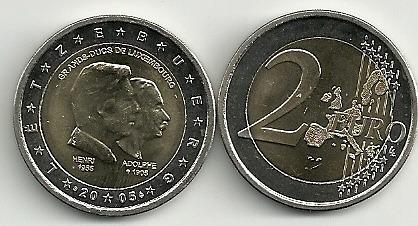 Moneda Luxemburgo Año 2005 Bimetalica 2 Euro Sin Circular