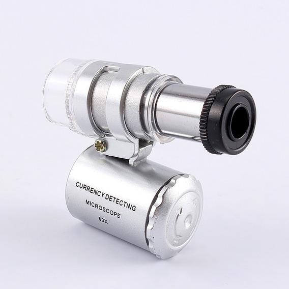 Microscópio Mini 60x Bolso Led Ultravioleta Lupa Conta-fios