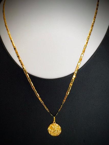 Colar Em Ouro 18k-6.60gr., Comp. 45cm. Com Pingente.