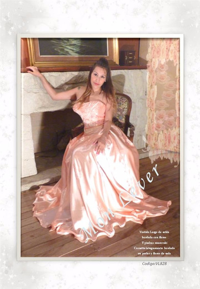 Vestido Largo De Seda Íntegramente Bordado En Perlas