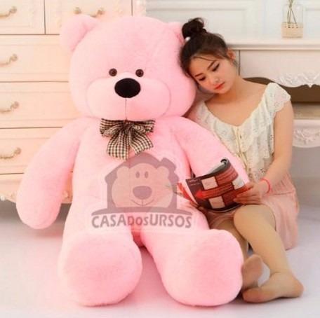 Urso De Pelúcia Rosa 140cm 1,4m + Enchimento Pronta Entrega