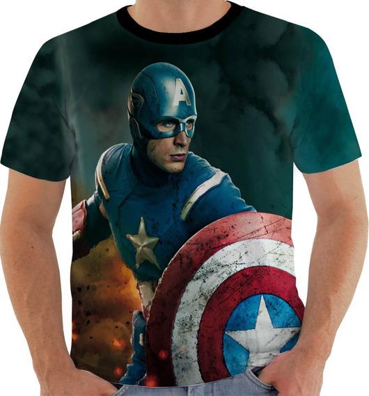 Camiseta Ou Baby Look Ou Regata Capitão America Avenger