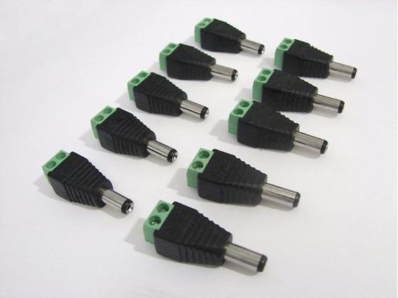 Kit Com 10 Conectores P4 Macho C/ Borne - P/ Fitas Led, Cftv