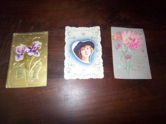 Muy Finas Antiguas Y Romanticas Postales Sobrerelieve
