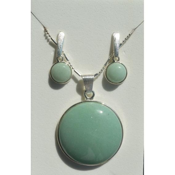 Conjunto Folheado Prata Pedra Quartzo Verde