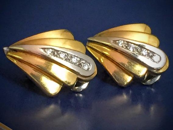 Brincos Ouro 18 K 750-9.9gr. Branco/amarelo /brilhantes-20m.