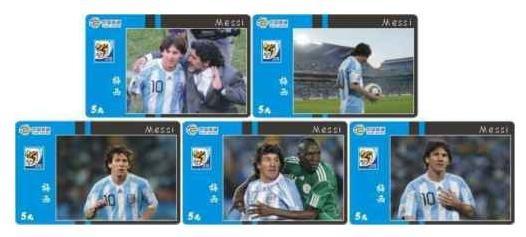 Messi Maradona Y Argentina - Lote De 5 Tarjetas Telefonicas