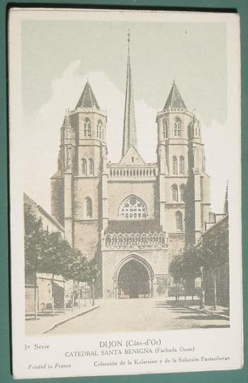 Tarjeta Publicidad Pautauberge Catedral Santa Benigna Dijon
