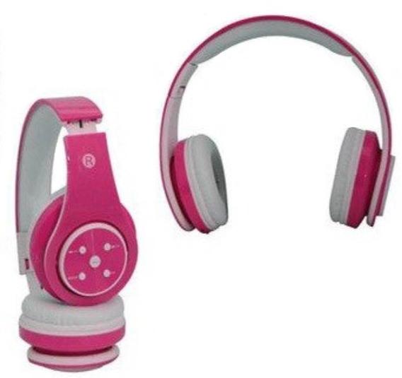 Fone De Ouvido Bluetooth Sd Mp3 Fm Knup Branco E Rosa