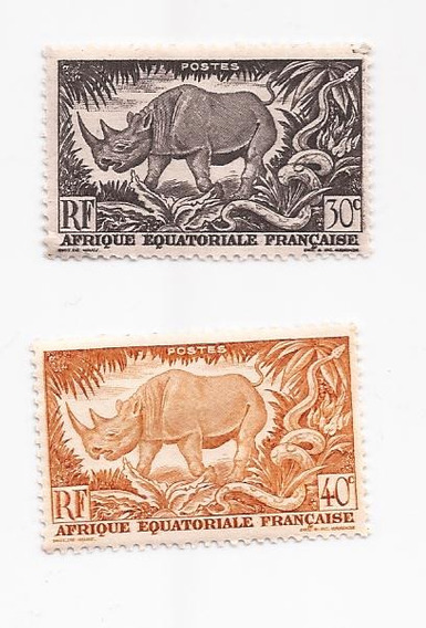 Africa Ecuatorial Francesa 2 Estampillas Rinoceronte !!!