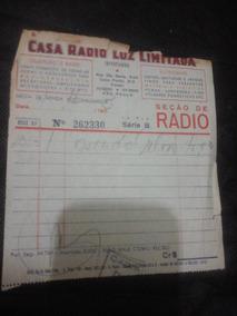 Nota Fiscal Casa Radio Luz De 1953