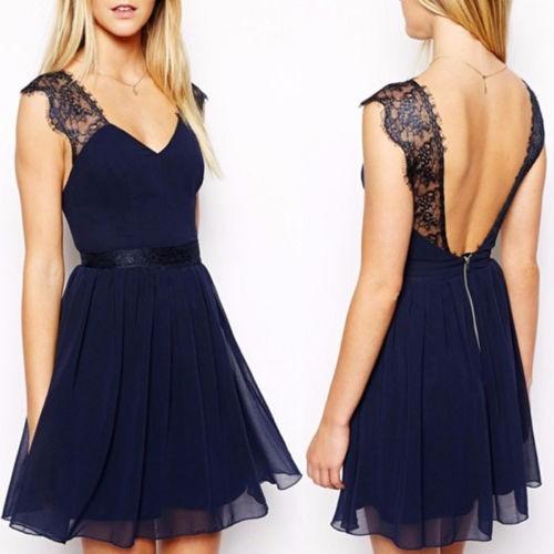 Vestido De Gasa Importado Azul