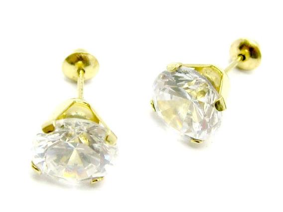 Joianete B9406-48638 Brinco Solitário Ouro De Zircônia