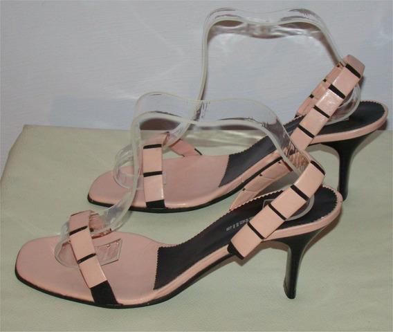 Sandalias Taco Bajo Color Rosa Y Negro T39