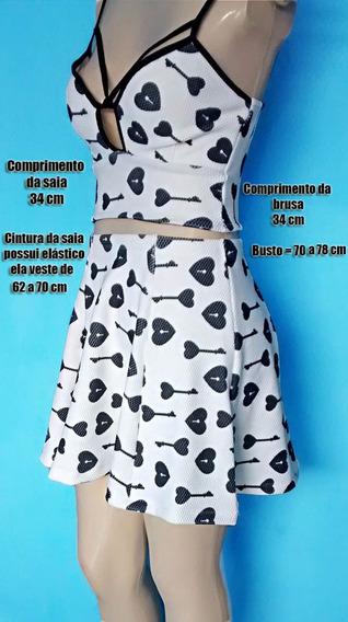 Conjunto Blusa Cropped Top Alcinha Com Saia Godê Rodada