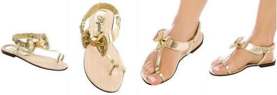 Sandália Rasteira Detalhe Laco Dourado