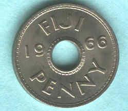 Moneda De Fiji 1 Penny Año 1966 Con Agujero Sin Circular