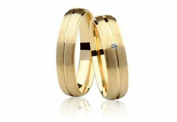Par Aliança De Ouro 18k Com Diamante