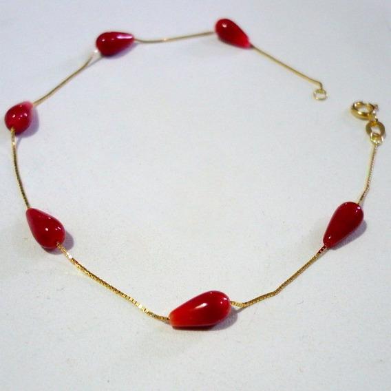 Pulseira Coral Vermelho Natural Legitimo Ouro 18k 750 Maciço