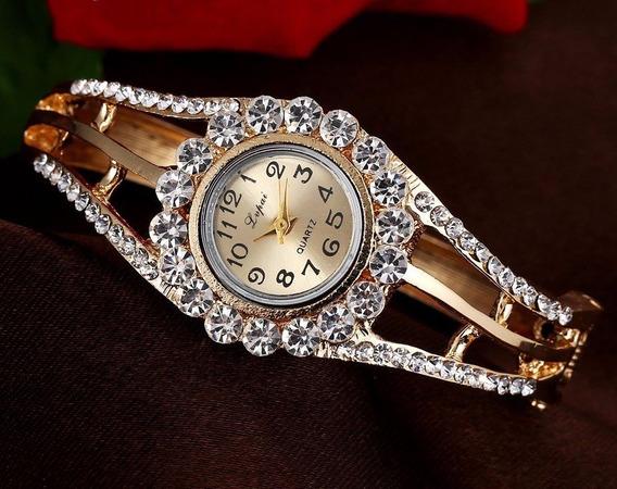 Pulseira Bracelete Relógio Com Strass Brilhantes Estilo Luxo