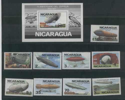 Espectacular Juego Completo Estampillas Zeppelin Nicaragua!!
