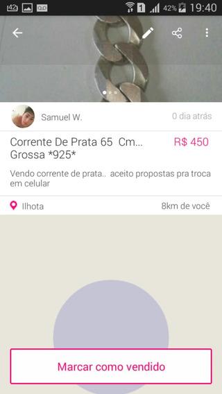 Corrente De Prata 925 Grossa... 65 Cm
