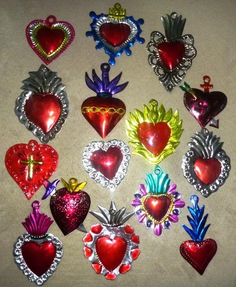 Corazon De Hojalata 15 Artesania Oaxaca Souvenir Milagritos