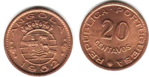 Moneda De Angola 20 Centavos Año 1962 Sin Circular
