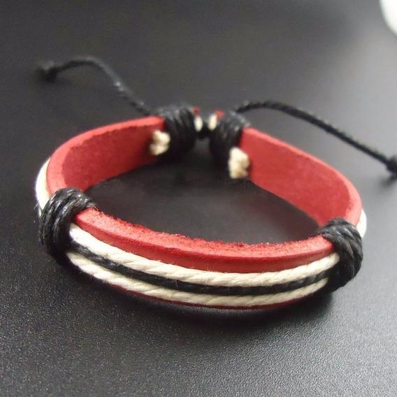 Pulseira Masculina Ou Feminina , Bracelete De Couro Genuíno