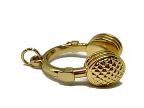 Pingente Fone De Ouvido Banhado Em Ouro 18k Dourado