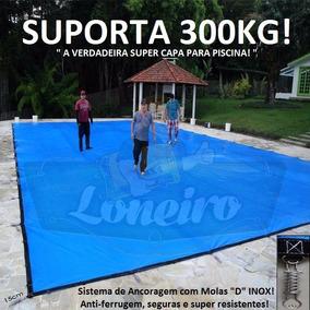 Super Capa Para Piscina 5,5x3 M Proteção De Lona Azul Cinza
