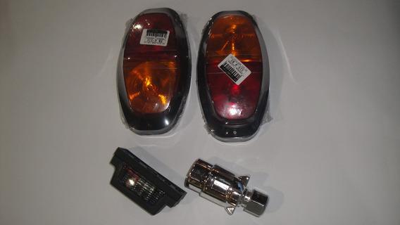 Kit Inst. Lanternas Luz Placa Plug 7 Mt Cabo Pp Carretinha