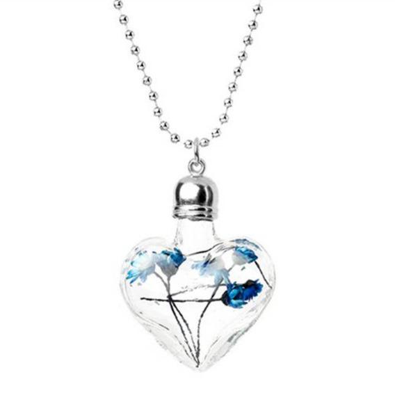 Colar Coração De Vidro Cristal Flor Azul 8 Estações