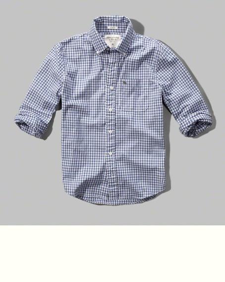 Camisa A&f Xadrez Manga Longa Original