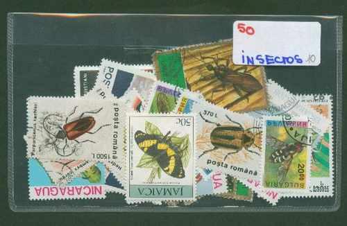 Lote De 50 Estampillas De Insectos ¡ Distintas !