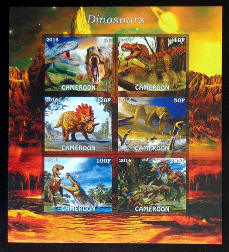 Camerún Dinosaurios Bloque 6 Sellos S Dentar 2016 Mint L8176