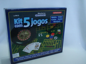Kit 5 Jogos Roleta Poker Dados Blackjack Cartas Mini Cassino