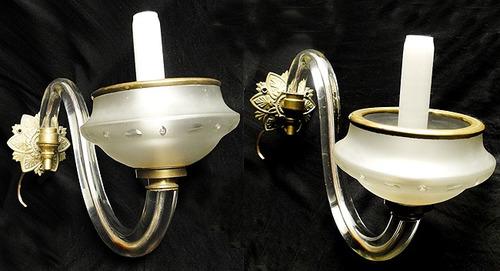 Antiguo Par De Apliques A Gas De Epoca Cristal Y Bronce